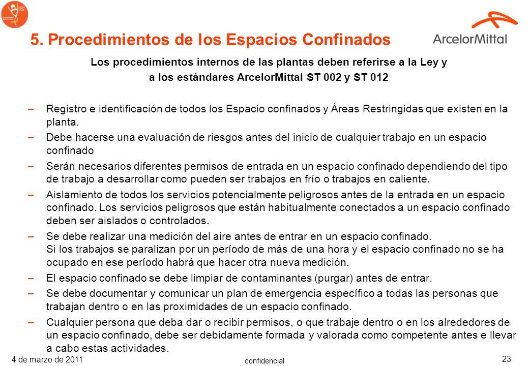 confidencial 4 de marzo de 2011 22 4.1 Sistema de Permisos –El proceso de autorización de permisos debe incluir los elementos siguientes: Un Análisis