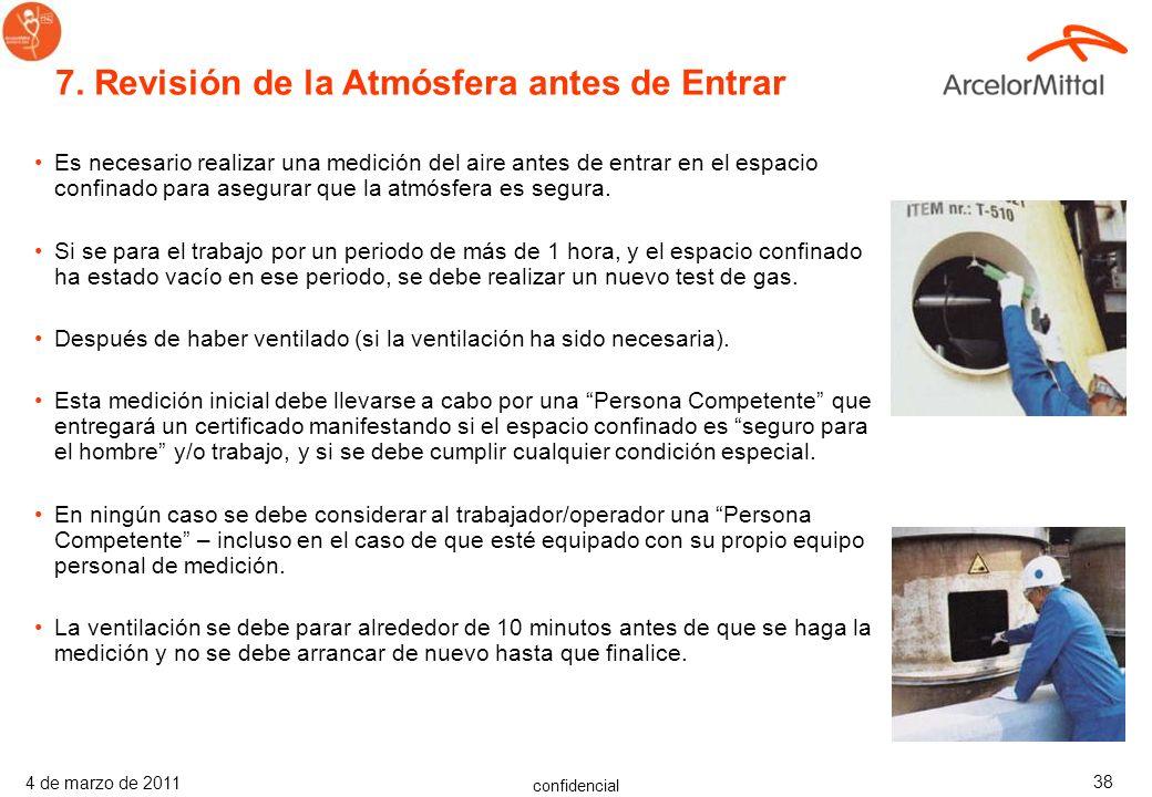 confidencial 4 de marzo de 2011 37 Antes de que una persona entre en un espacio confinado hay que asegurarse de que: –La concentración del contaminant