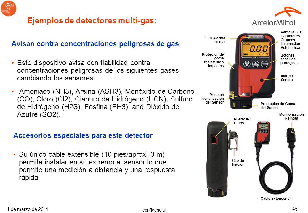 confidencial 4 de marzo de 2011 44 Avisan contra concentraciones peligrosas de gas Estos dispositivos mono-gas y manos libres pueden detectar Monóxido