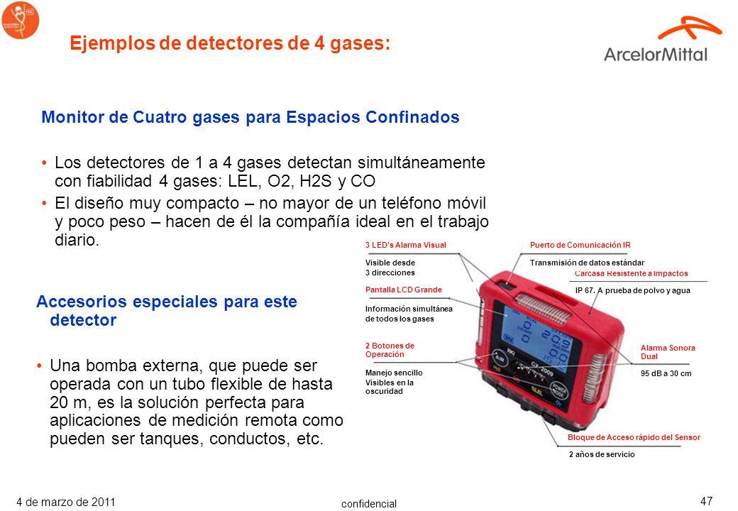confidencial 4 de marzo de 2011 46 Avisan contra concentraciones peligrosas de gas Los detectores de 1 a 4 gases detectan con fiabilidad gases combust