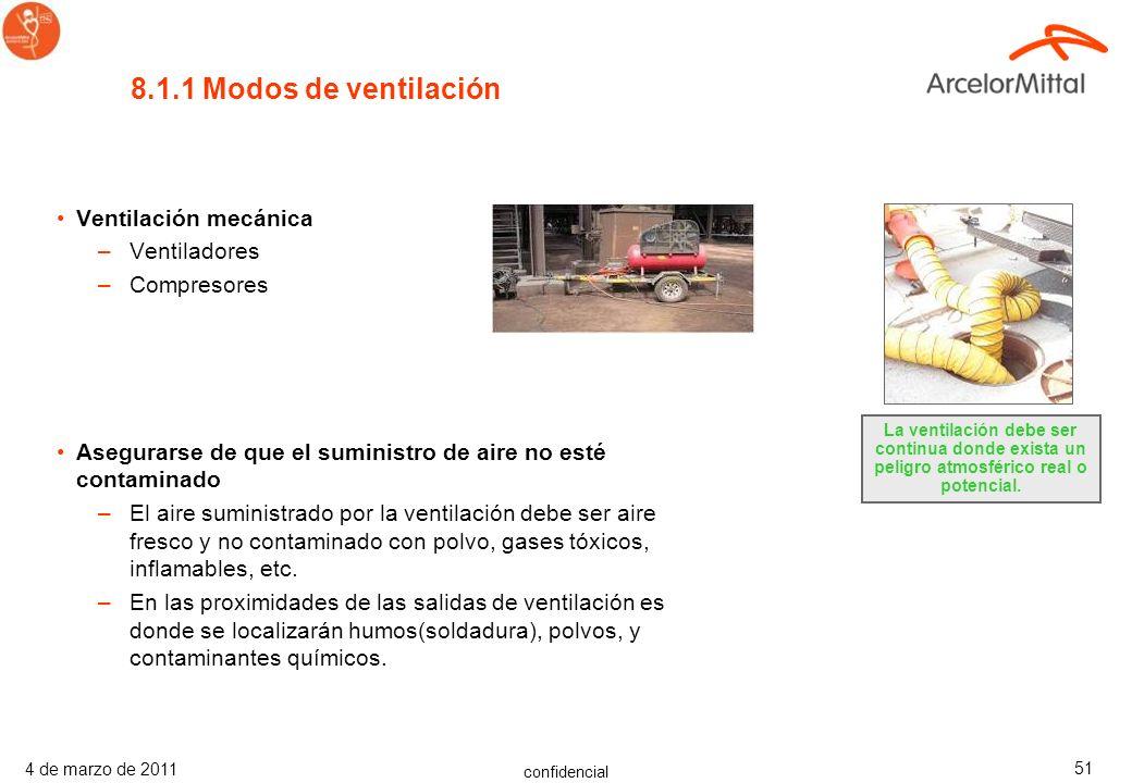 confidencial 4 de marzo de 2011 50 Antes de entrar en un espacio confinado se debe asegurar: –Los contaminantes atmosféricos en el espacio confinado e