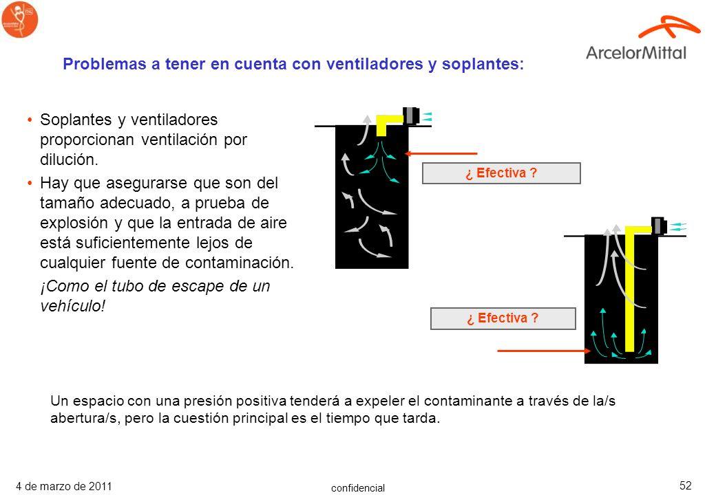 confidencial 4 de marzo de 2011 51 Ventilación mecánica –Ventiladores –Compresores Asegurarse de que el suministro de aire no esté contaminado –El air
