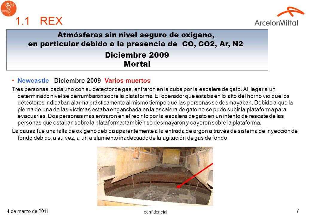 confidencial 4 de marzo de 2011 7 Newcastle Diciembre 2009 Varios muertos Tres personas, cada uno con su detector de gas, entraron en la cuba por la escalera de gato.
