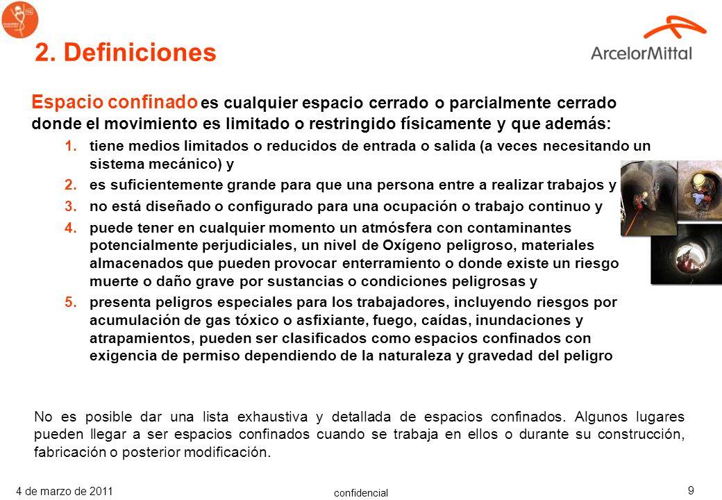 confidencial 4 de marzo de 2011 19 3.7 Persona autorizada para entrar Evaluada como competente para entrar en un espacio confinado.