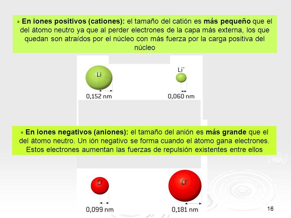 16 En iones positivos (cationes): el tamaño del catión es más pequeño que el del átomo neutro ya que al perder electrones de la capa más externa, los