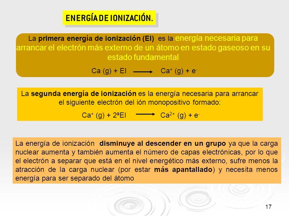 17 ENERGÍA DE IONIZACIÓN. La primera energía de ionización (EI) es la energía necesaria para arrancar el electrón más externo de un átomo en estado ga