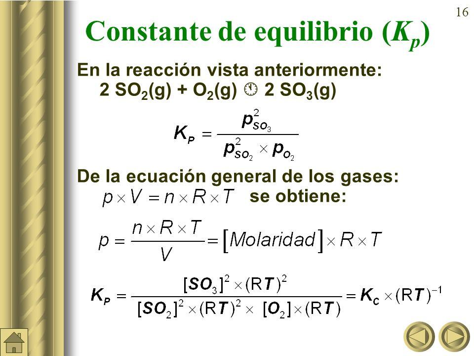 15 Constante de equilibrio (K p ) En las reacciones en que intervengan gases es mas sencillo medir presiones parciales que concentraciones: a A + b B