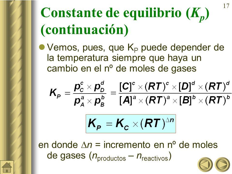 16 Constante de equilibrio (K p ) En la reacción vista anteriormente: 2 SO 2 (g) + O 2 (g) 2 SO 3 (g) De la ecuación general de los gases: se obtiene: