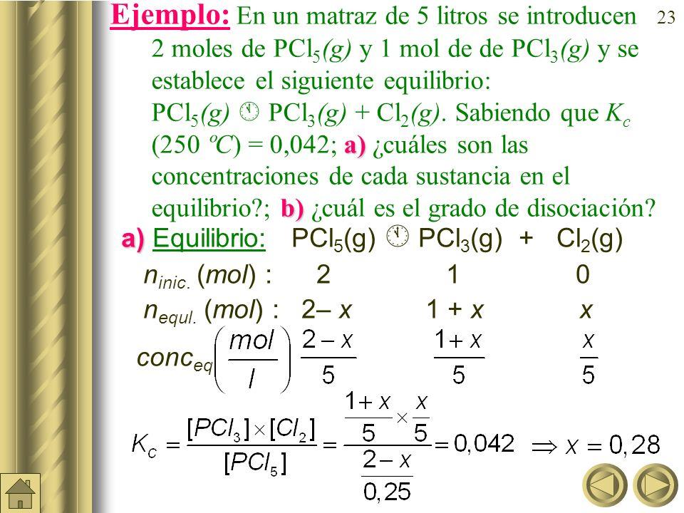 22 Grado de disociación ( ). Se utiliza en aquellas reacciones en las que existe un único reactivo que se disocia en dos o más. Es la fracción de un m