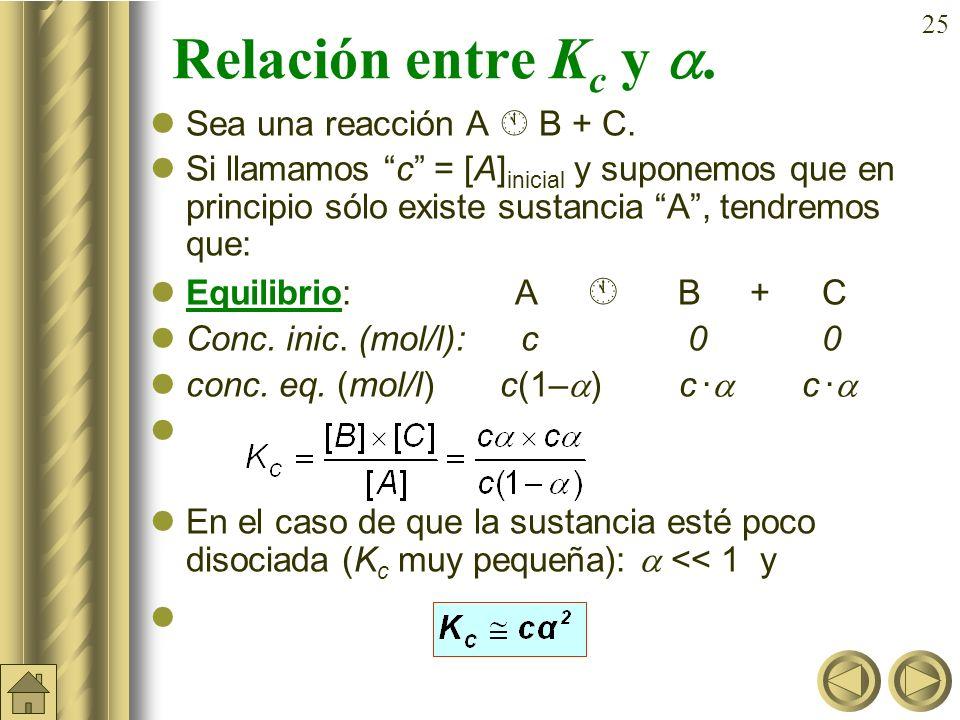 24 a) b) Ejemplo (cont): En un matraz de 5 litros se introducen 2 moles de PCl 5 (g) y 1 mol de de PCl 3 (g) y se establece el siguiente equilibrio: P