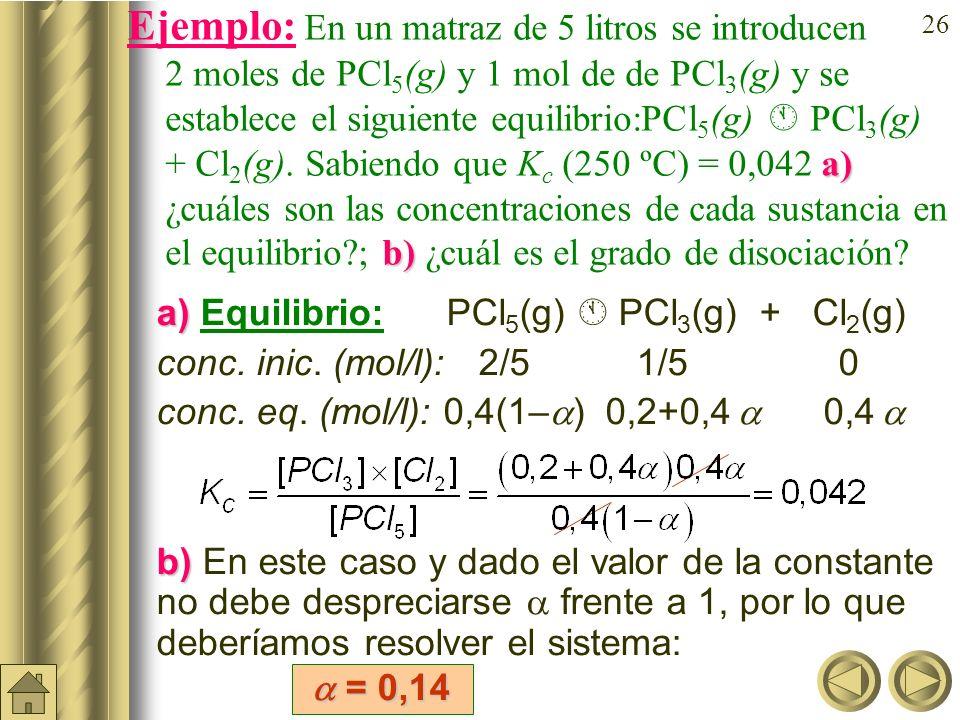 25 Relación entre K c y. Sea una reacción A B + C. Si llamamos c = [A] inicial y suponemos que en principio sólo existe sustancia A, tendremos que: Eq