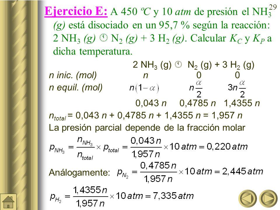 28 Ejercicio D (cont): En el equilibrio anterior (K c = 0,042): PCl 5 (g) PCl 3 (g) + Cl 2 (g) ¿cuál sería el grado de disociación y el número de mole