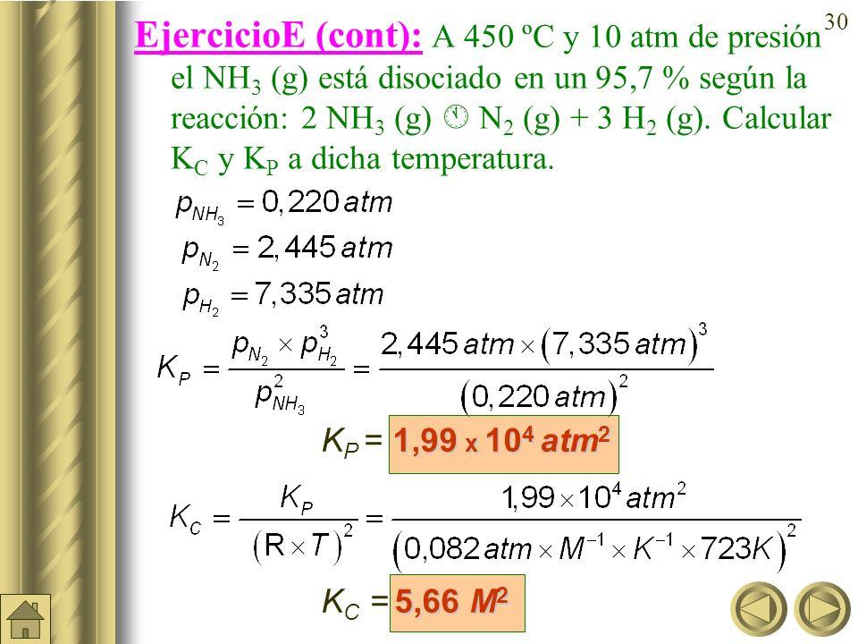 29 Ejercicio E: A 450 ºC y 10 atm de presión el NH 3 (g) está disociado en un 95,7 % según la reacción: 2 NH 3 (g) N 2 (g) + 3 H 2 (g). Calcular K C y