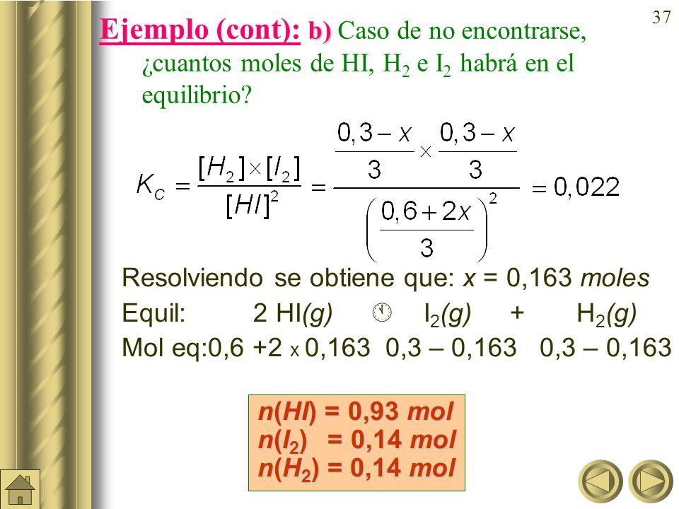 36 a) b) Ejemplo (cont): En un recipiente de 3 litros se introducen 0,6 moles de HI, 0,3 moles de H 2 y 0,3 moles de I 2 a 490ºC. Si K c = 0,022 a 490