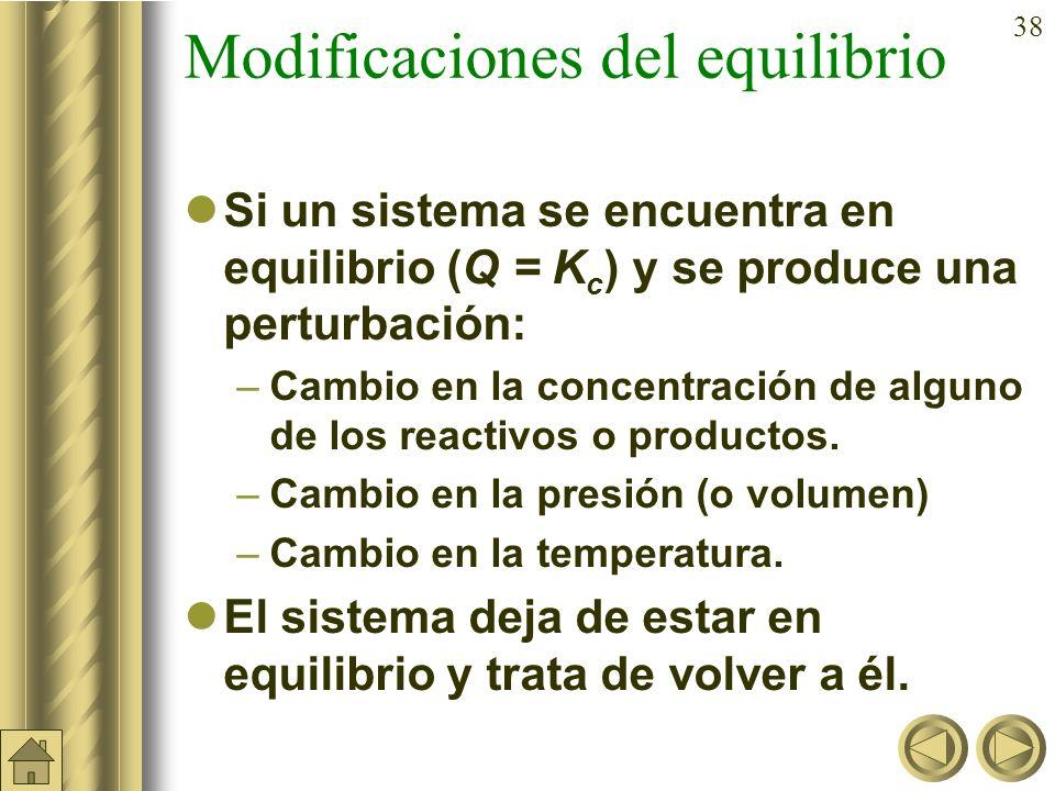 37 b) Ejemplo (cont): b) Caso de no encontrarse, ¿cuantos moles de HI, H 2 e I 2 habrá en el equilibrio? Resolviendo se obtiene que: x = 0,163 moles E