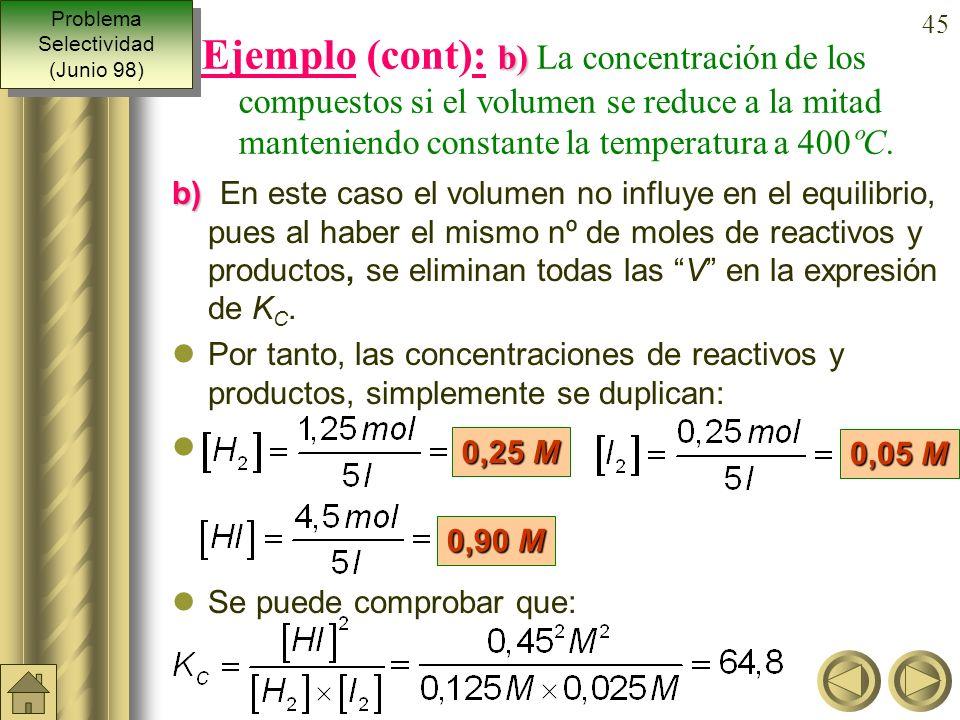 44 a) b) Ejemplo: Una mezcla gaseosa constituida inicial- mente por 3,5 moles de hidrógeno y 2,5 de yodo, se calienta a 400ºC con lo que al alcanzar e