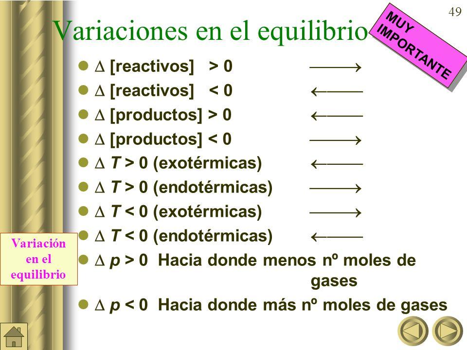 48 Principio de Le Chatelier Un cambio o perturbación en cualquiera de las variables que determinan el estado de equilibrio químico produce un desplaz