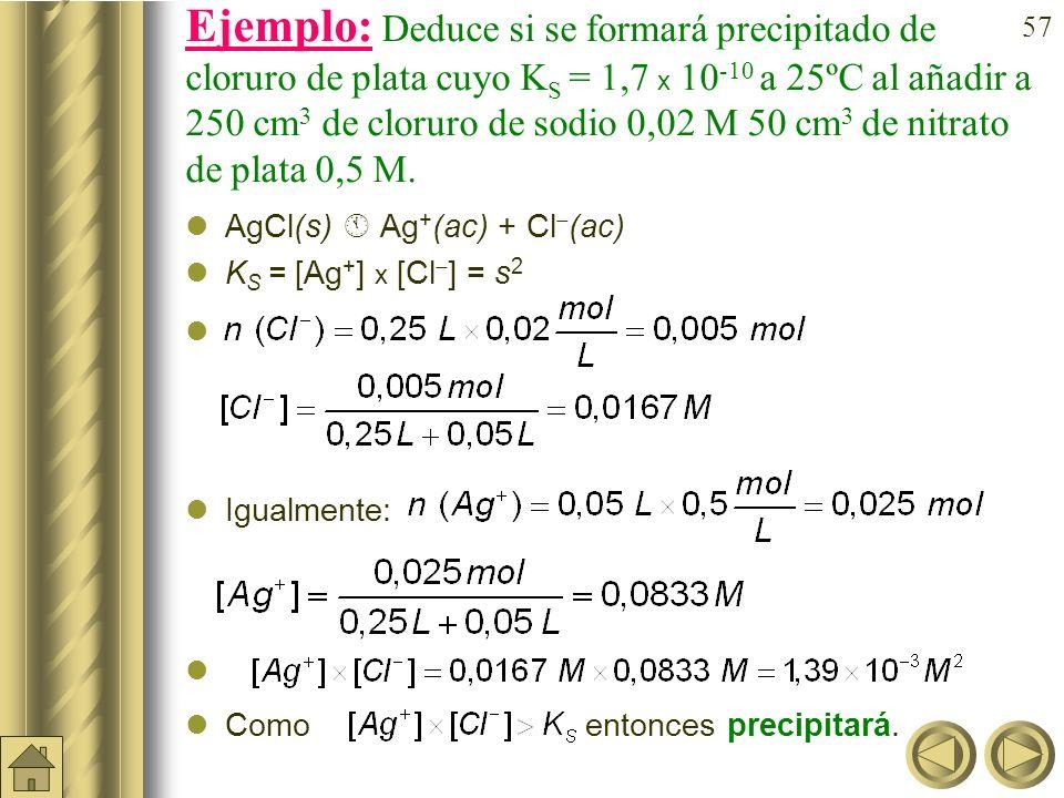 56 Producto de solubilidad (K S o P S ) en electrolitos de tipo AB. tipo AB En un electrolito de tipo AB el equilibrio de solubilidad viene determinad