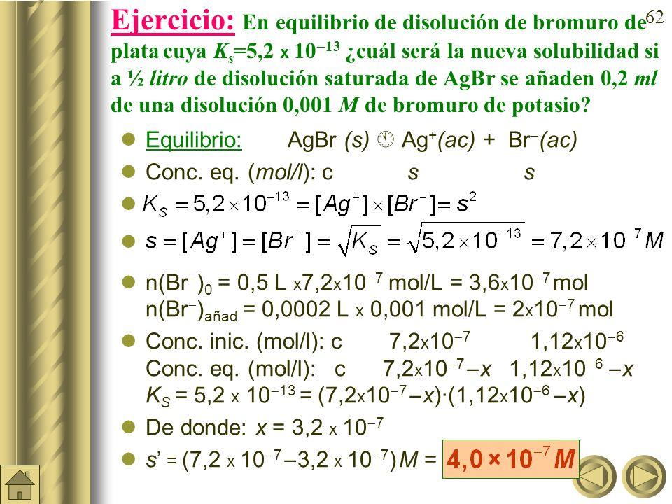 61 Ejemplo: ¿Cuál será la solubilidad del cloruro de plata si añadimos nitrato de plata, sal soluble, hasta una concentración final 0,002 M? AgCl(s) A