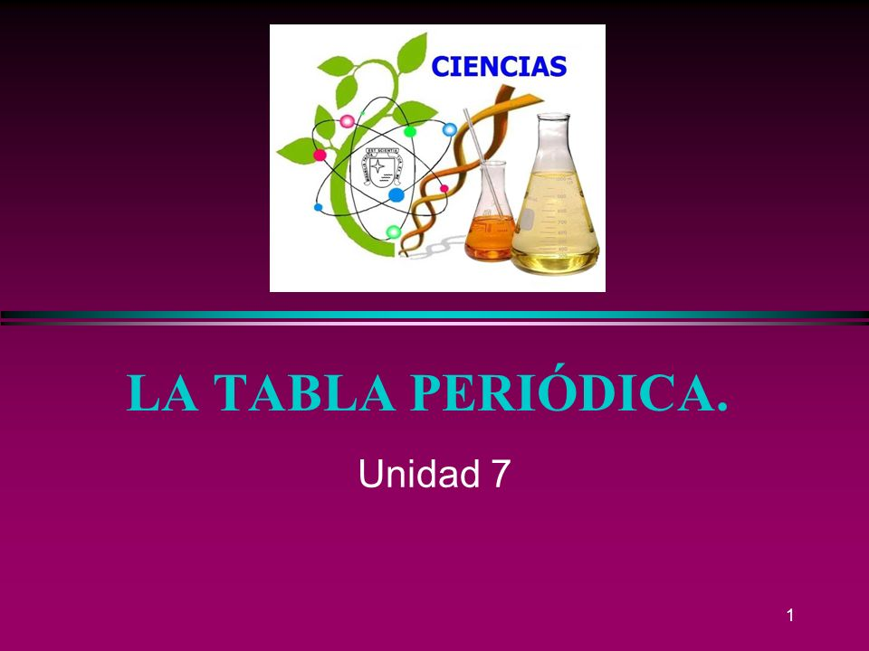 1 LA TABLA PERIÓDICA. Unidad 7