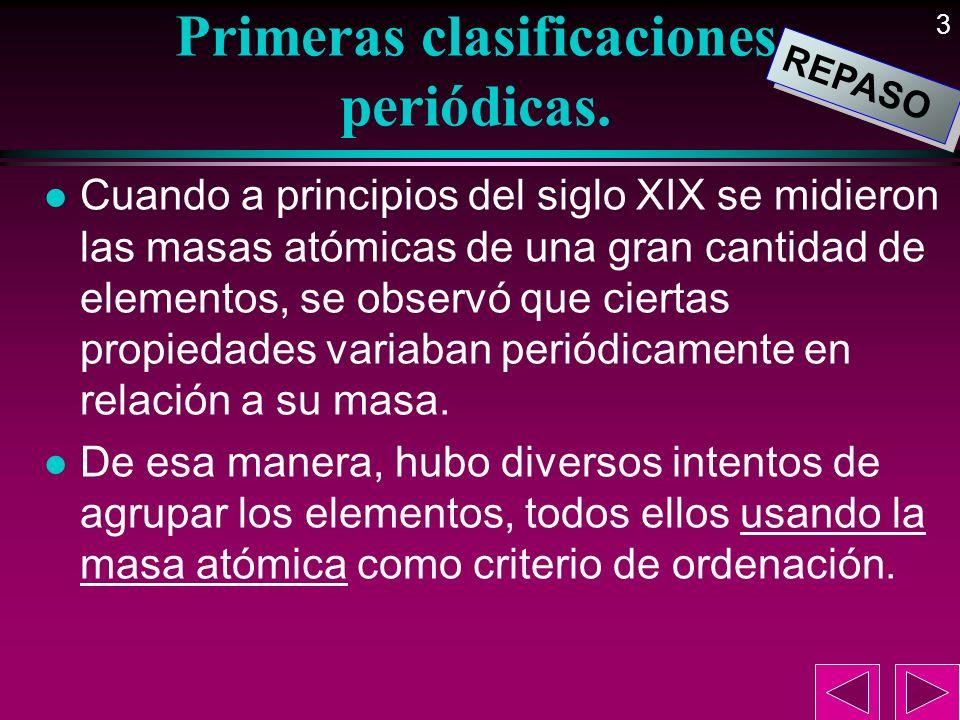 3 Primeras clasificaciones periódicas. l Cuando a principios del siglo XIX se midieron las masas atómicas de una gran cantidad de elementos, se observ