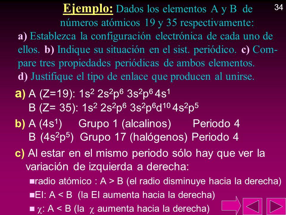 Ejemplo: Dados los elementos A y B de números atómicos 19 y 35 respectivamente: a) Establezca la configuración electrónica de cada uno de ellos. b) In