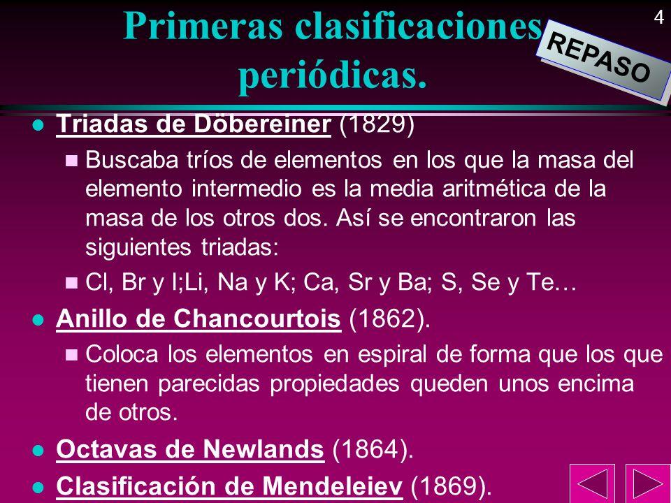 4 Primeras clasificaciones periódicas. l Triadas de Döbereiner (1829) n Buscaba tríos de elementos en los que la masa del elemento intermedio es la me