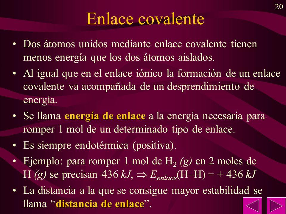 20 Enlace covalente Dos átomos unidos mediante enlace covalente tienen menos energía que los dos átomos aislados. Al igual que en el enlace iónico la