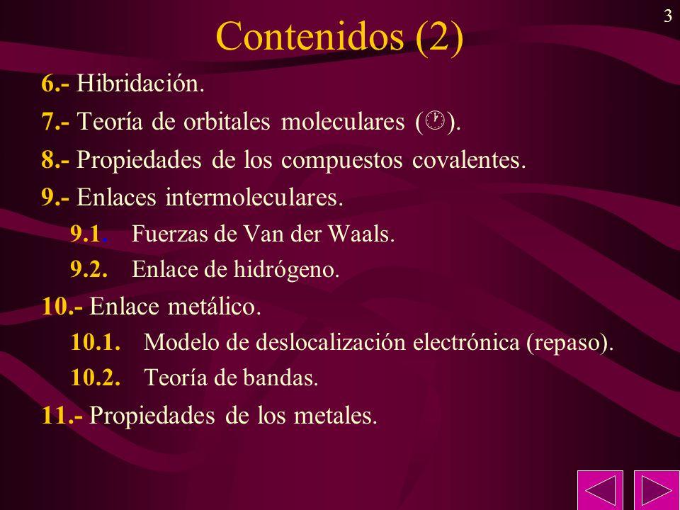 3 Contenidos (2) 6.- Hibridación. 7.- Teoría de orbitales moleculares ( ). 8.- Propiedades de los compuestos covalentes. 9.- Enlaces intermoleculares.
