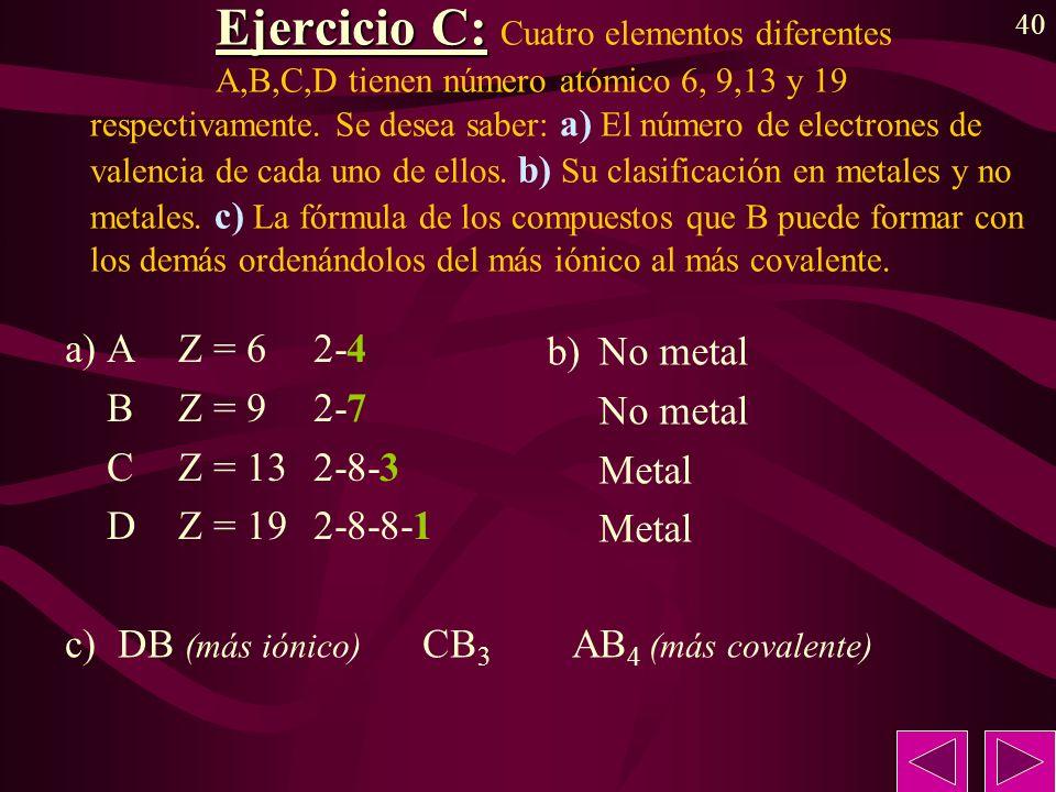 40 Ejercicio C: Ejercicio C: Cuatro elementos diferentes A,B,C,D tienen número atómico 6, 9,13 y 19 respectivamente. Se desea saber: a) El número de e