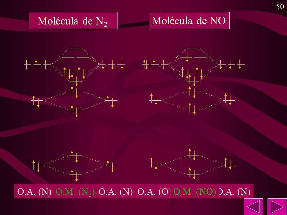 50 O.A. (N) O.M. (N 2 ) Molécula de N 2 O.A. (N)O.A. (O)O.M. (NO) Molécula de NO