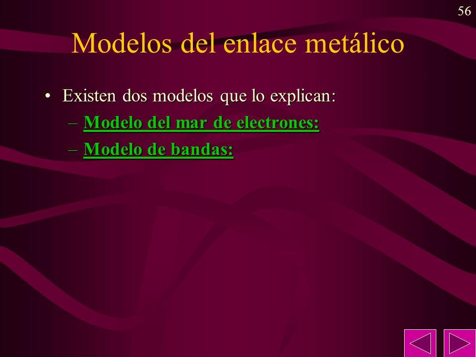 56 Modelos del enlace metálico Existen dos modelos que lo explican:Existen dos modelos que lo explican: –Modelo del mar de electrones: –Modelo de band
