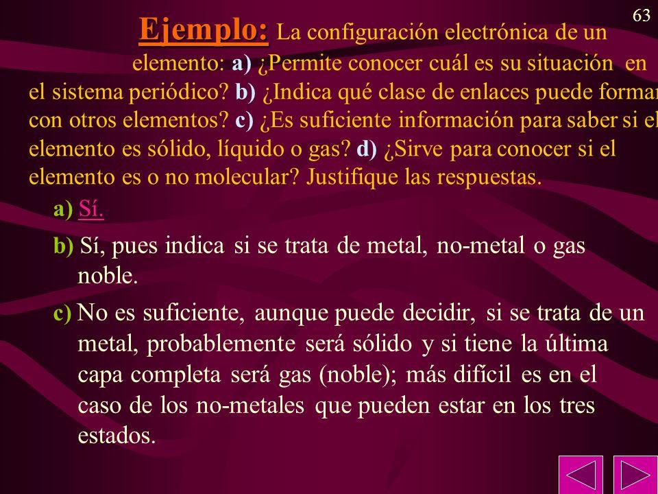 63 Ejemplo: Ejemplo: La configuración electrónica de un elemento: a) ¿Permite conocer cuál es su situación en el sistema periódico? b) ¿Indica qué cla