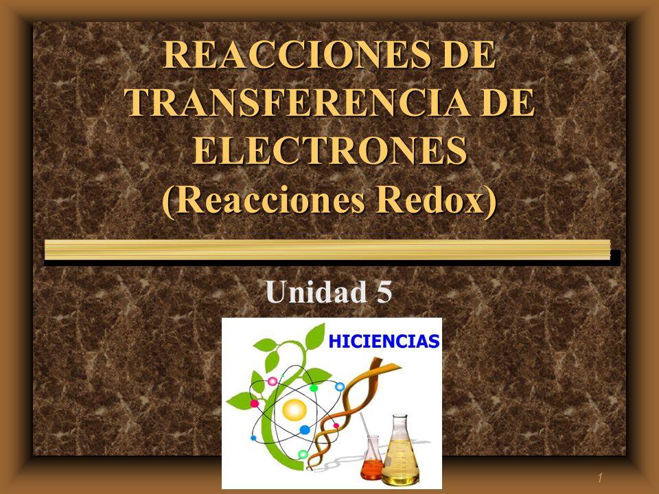 1 REACCIONES DE TRANSFERENCIA DE ELECTRONES (Reacciones Redox) Unidad 5