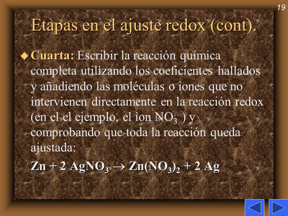 19 Etapas en el ajuste redox (cont). u Cuarta: u Cuarta: Escribir la reacción química completa utilizando los coeficientes hallados y añadiendo las mo