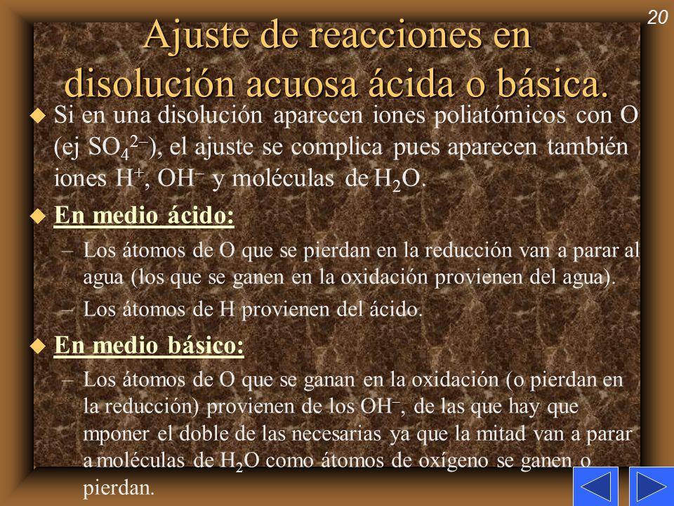 20 Ajuste de reacciones en disolución acuosa ácida o básica. u Si en una disolución aparecen iones poliatómicos con O (ej SO 4 2– ), el ajuste se comp