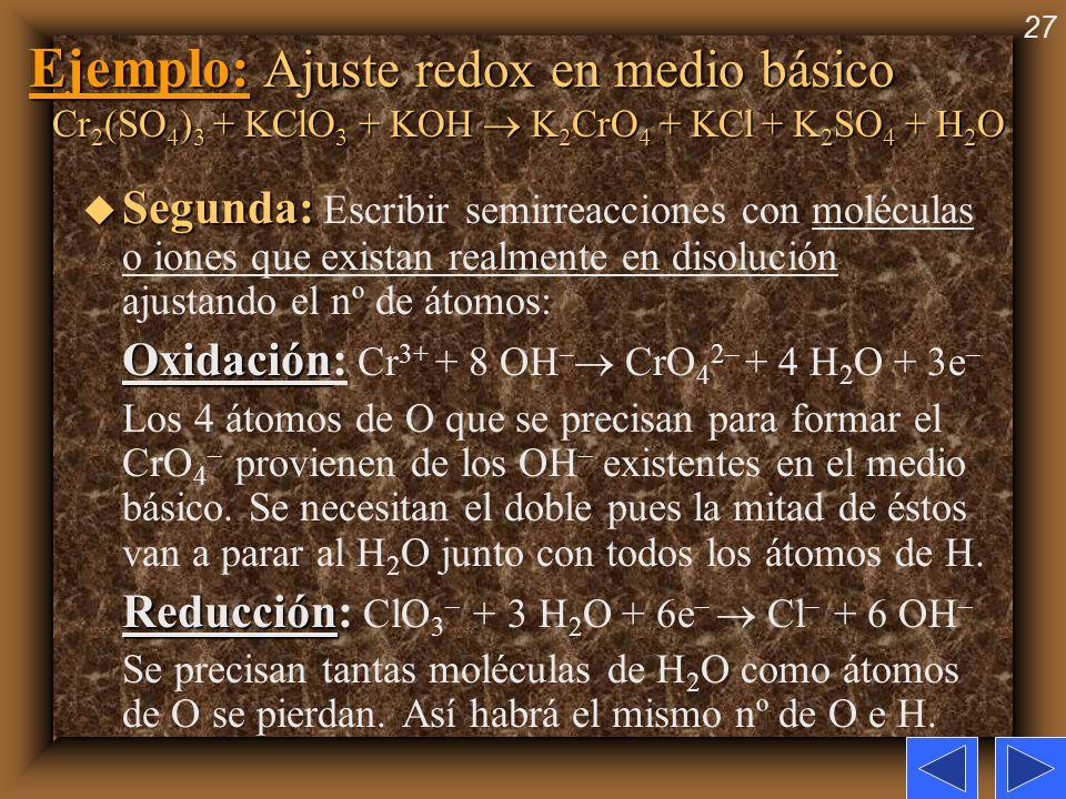 27 Ejemplo: Ajuste redox en medio básico Cr 2 (SO 4 ) 3 + KClO 3 + KOH K 2 CrO 4 + KCl + K 2 SO 4 + H 2 O u Segunda: u Segunda: Escribir semirreaccion