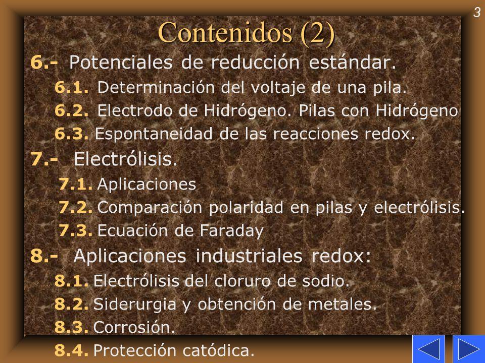 3 Contenidos (2) 6.- Potenciales de reducción estándar. 6.1. Determinación del voltaje de una pila. 6.2. Electrodo de Hidrógeno. Pilas con Hidrógeno 6