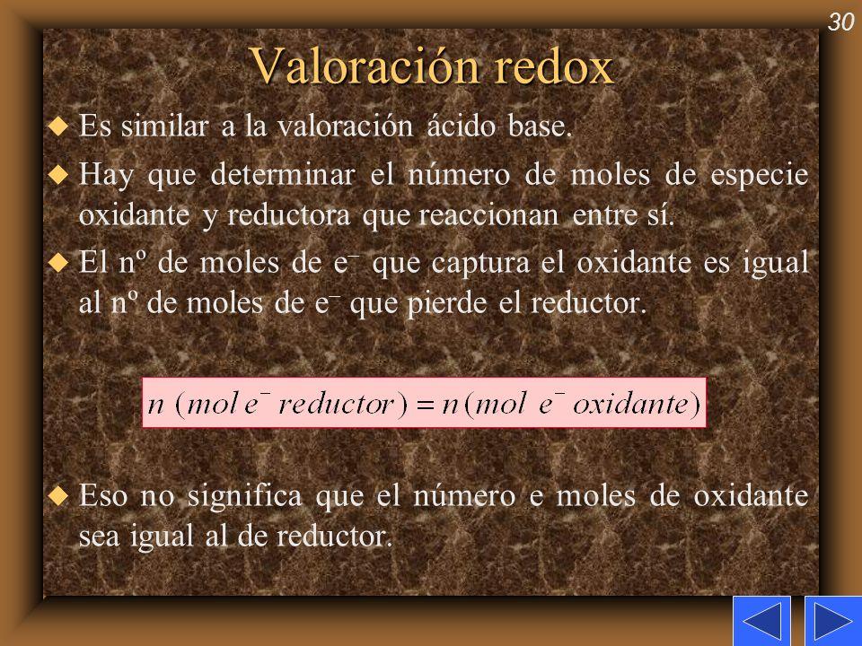 30 Valoración redox u Es similar a la valoración ácido base. u Hay que determinar el número de moles de especie oxidante y reductora que reaccionan en