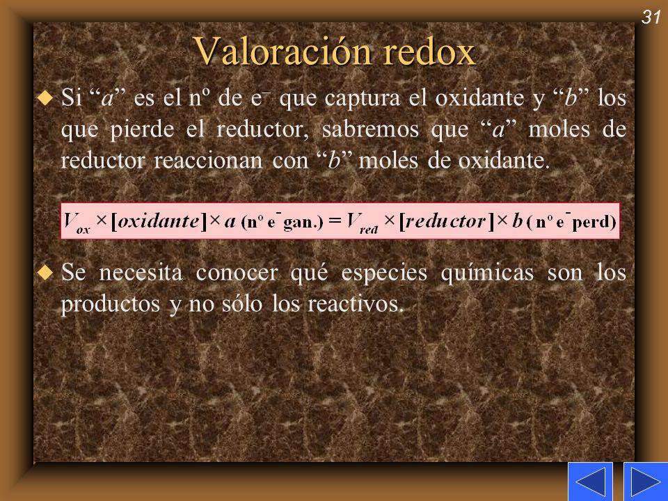 31 Valoración redox u Si a es el nº de e que captura el oxidante y b los que pierde el reductor, sabremos que a moles de reductor reaccionan con b mol