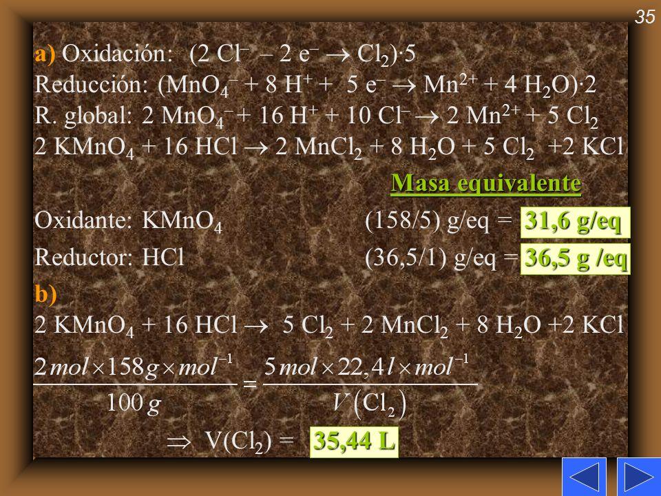 35 a) Oxidación: (2 Cl – – 2 e – Cl 2 )·5 Reducción: (MnO 4 – + 8 H + + 5 e – Mn 2+ + 4 H 2 O)·2 R. global: 2 MnO 4 – + 16 H + + 10 Cl – 2 Mn 2+ + 5 C