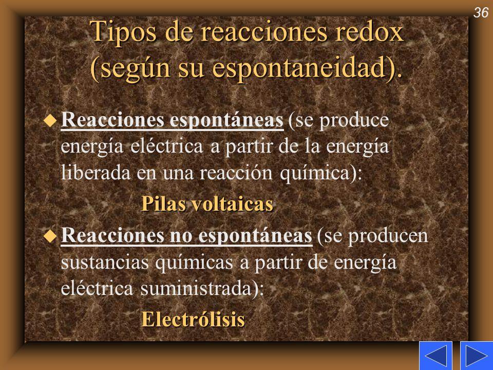 36 Tipos de reacciones redox (según su espontaneidad). u Reacciones espontáneas (se produce energía eléctrica a partir de la energía liberada en una r