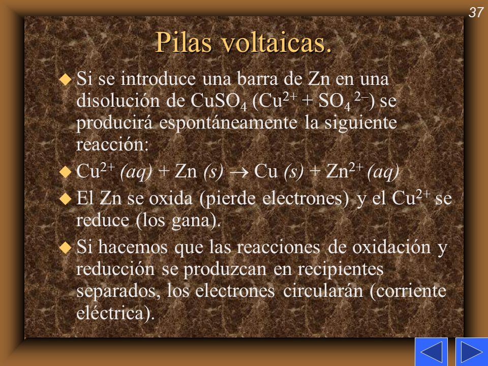 37 Pilas voltaicas. u Si se introduce una barra de Zn en una disolución de CuSO 4 (Cu 2+ + SO 4 2– ) se producirá espontáneamente la siguiente reacció