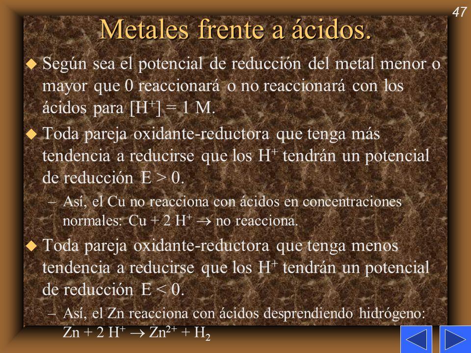 47 Metales frente a ácidos. u Según sea el potencial de reducción del metal menor o mayor que 0 reaccionará o no reaccionará con los ácidos para [H +