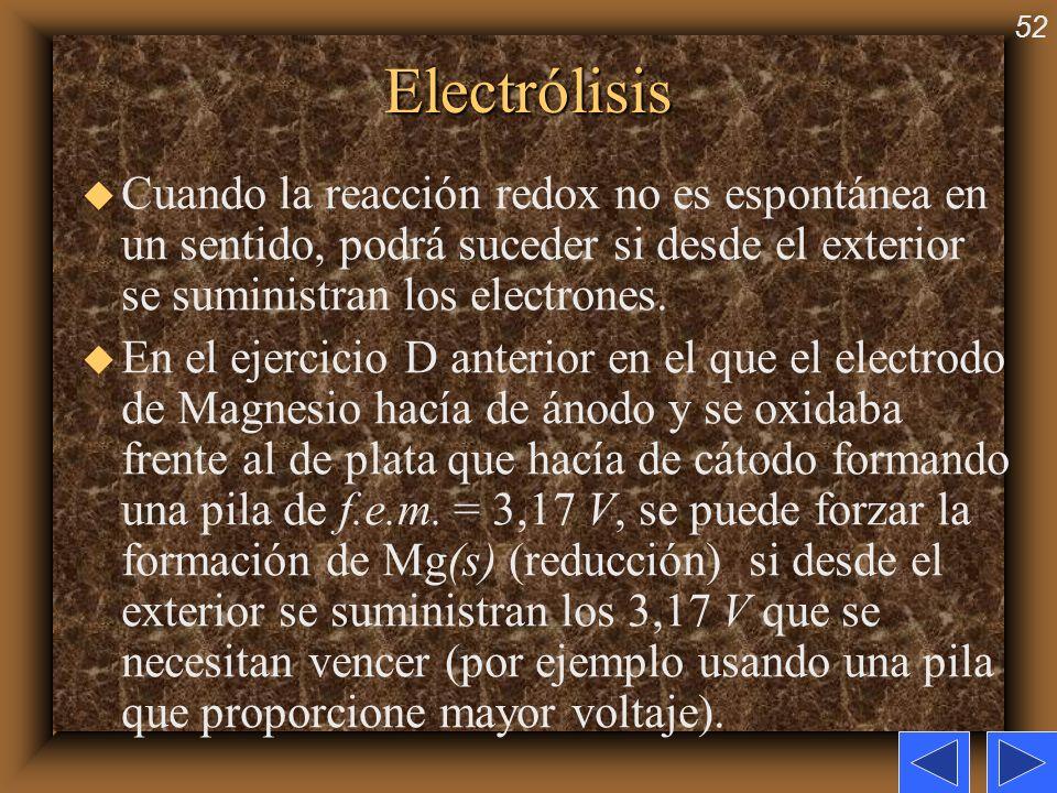 52Electrólisis u Cuando la reacción redox no es espontánea en un sentido, podrá suceder si desde el exterior se suministran los electrones. u En el ej