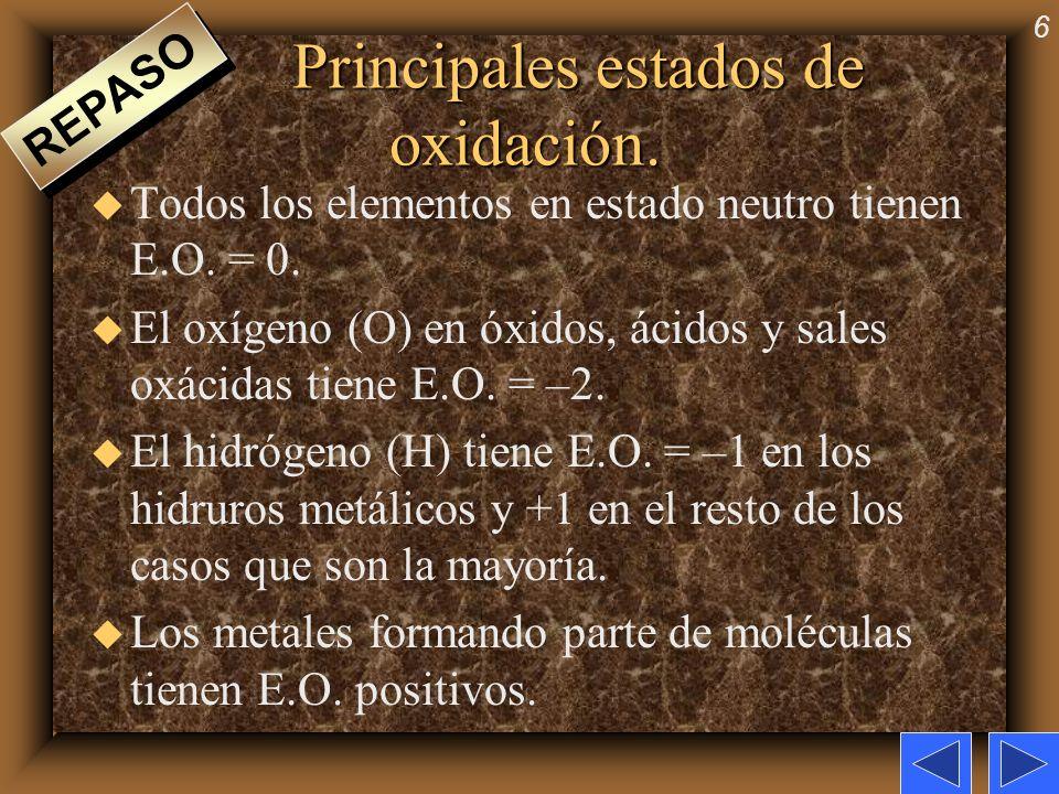 6 Principales estados de oxidación. u Todos los elementos en estado neutro tienen E.O. = 0. u El oxígeno (O) en óxidos, ácidos y sales oxácidas tiene