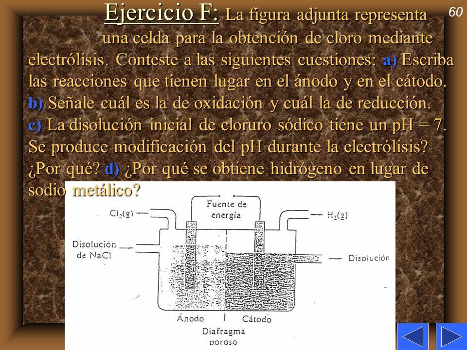 60 Ejercicio F: La figura adjunta representa una celda para la obtención de cloro mediante electrólisis. Conteste a las siguientes cuestiones: a) Escr