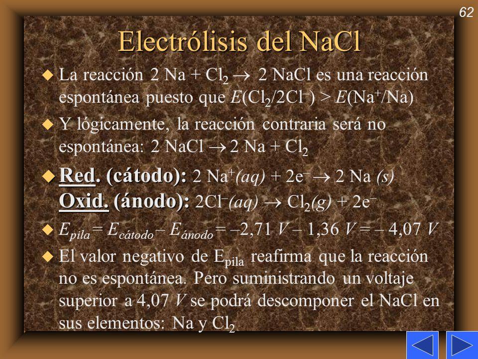 62 Electrólisis del NaCl u La reacción 2 Na + Cl 2 2 NaCl es una reacción espontánea puesto que E(Cl 2 /2Cl – ) > E(Na + /Na) u Y lógicamente, la reac