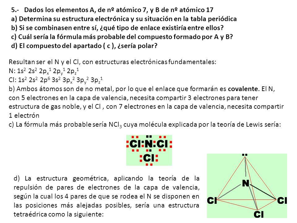 5.- Dados los elementos A, de nº atómico 7, y B de nº atómico 17 a) Determina su estructura electrónica y su situación en la tabla periódica b) Si se