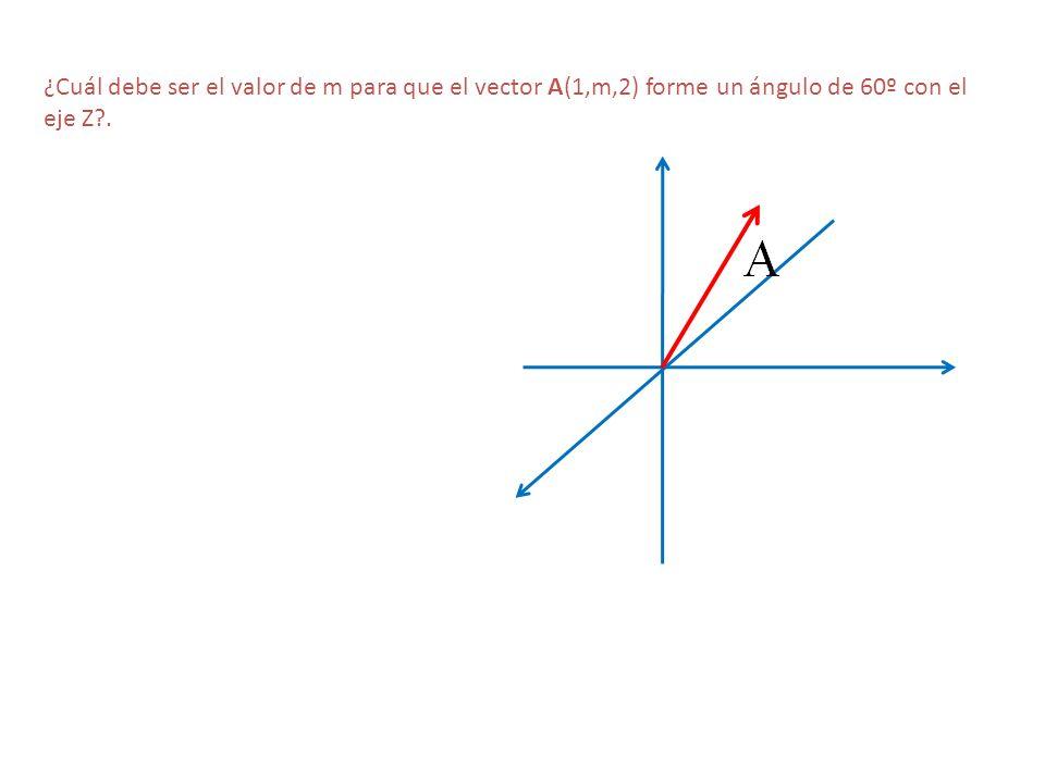 ¿Cuál debe ser el valor de m para que el vector A(1,m,2) forme un ángulo de 60º con el eje Z?.